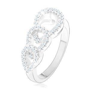 Zásnubní prsten ze stříbra 925, tři zirkonové kontury kapek - Velikost: 51
