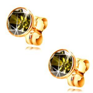 Zlaté 14k náušnice - kulatý zirkon olivové barvy v objímce, 5 mm