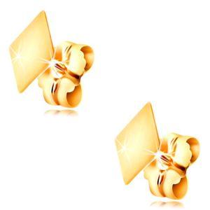 Zlaté 14K náušnice s puzetkami - plochý hladký kosočtverec, vysoký lesk