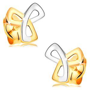 Zlaté 14K náušnice - trojcípý keltský uzel ve dvoubarevném provedení, puzetky