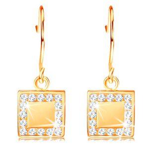Zlaté diamantové náušnice 585 - plochý čtverec s čirými brilianty po obvodu