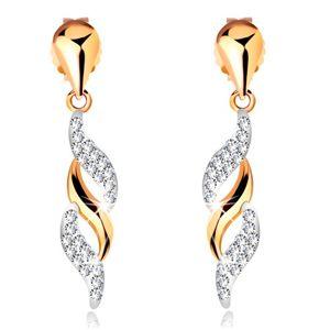 Zlaté náušnice 585 - blýskavé vlnky visící na lesklé kapce, krystalky Swarovski