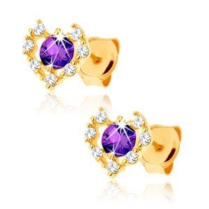 Zlaté náušnice 585 - čirý zirkonový obrys srdce, fialový ametyst