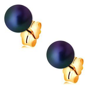 Zlaté náušnice 585 - kulatá perla s barevným leskem, puzetové zapínání