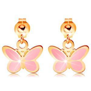 Zlaté náušnice 585 - lesklá kulička a visící růžový motýlek, glazura