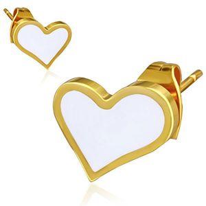 Zlaté náušnice z oceli - bílé asymetrické srdce
