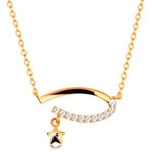 Zlatý 14K náhrdelník - neúplný ovál s čirými zirkony, hvězdička, jemný řetízek