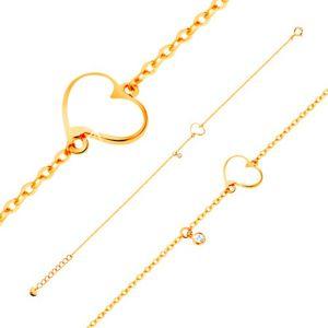 Zlatý 14K náramek - bílé nesouměrné srdce a čirý zirkonek, tenký řetízek