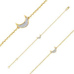 Zlatý 14K náramek - jemný lesklý řetízek, půlměsíc vykládaný zirkony