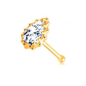 Zlatý 14K piercing do nosu - čirá zirkonová slzička lemovaná obrubou se zářezy