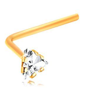 Zlatý 14K piercing do nosu - zahnutý - čirý zirkonový trojúhelník