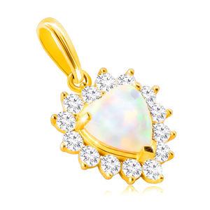 Zlatý 14K přívěsek - bílý syntetický opál ve tvaru srdce, lem z kulatých čirých zirkonů