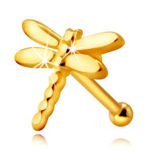 Zlatý 585 piercing do nosu - vážka s lesklými dlouhými křidélky