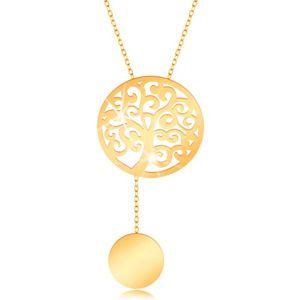 Zlatý náhrdelník 375 - kruh s vyřezávaným stromem a s visícím kolečkem