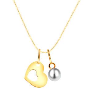 Zlatý náhrdelník 375 - silueta srdce s výřezem uprostřed, kulatá bílá perla