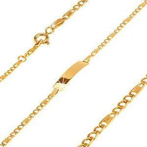 Zlatý náramek 585 - destička, tři očka a článek s mřížkou, 160 mm
