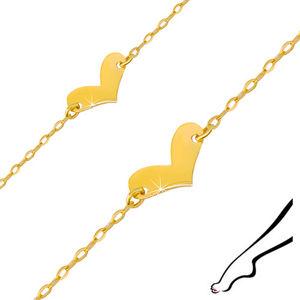 Zlatý náramek 585 na kotník - lesklé nepohyblivé srdíčko, oválná očka