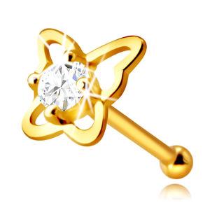 Zlatý piercing do nosu ze 14K zlata - kontura motýla s kulatým zirkonem čiré barvy, 2,25 mm