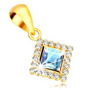 Zlatý přívěsek 375 - čtvercový zirkon světle modré barvy lemovaný čirými zirkony