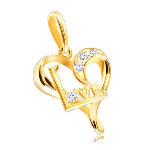 """Zlatý přívěsek 375 - nepravidelné srdíčko se zirkony a nápisem """"Love"""""""
