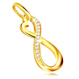 Zlatý přívěsek 585 - asymetrický symbol INFINITY, kulaté zirkony v čirém odstínu