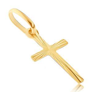 Zlatý přívěsek 585 - úzký křížek s tenkými lesklými pásy
