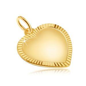Zlatý přívěsek 585 - velké pravidelné matné srdce, blyštivá rýhovaná obruba
