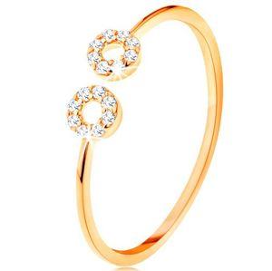 Zlatý prsten 375 s úzkými oddělenými rameny, malé zirkonové kroužky - Velikost: 51