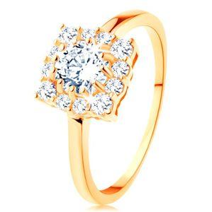 Zlatý prsten 585 - čtvercový zirkonový obrys, kulatý čirý zirkon uprostřed - Velikost: 64