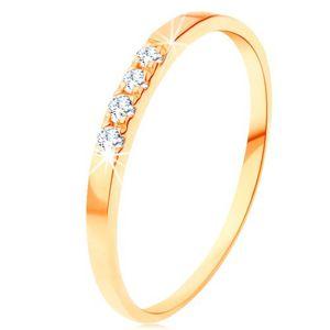 Zlatý prsten 585 - linie čtyř čirých briliantů, tenká lesklá ramena - Velikost: 58