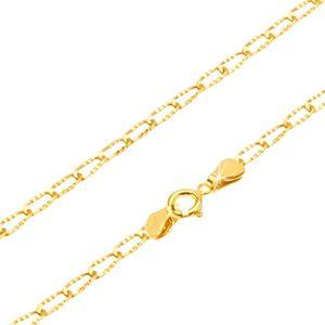Zlatý řetízek 585 - blyštivá podlouhlá očka s rýhováním, 500 mm